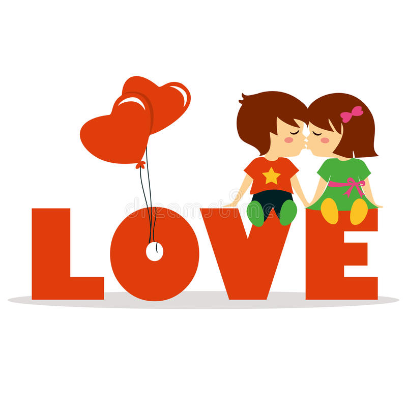 Dia de são valentim com menino e a menina bonitos ilustração stock