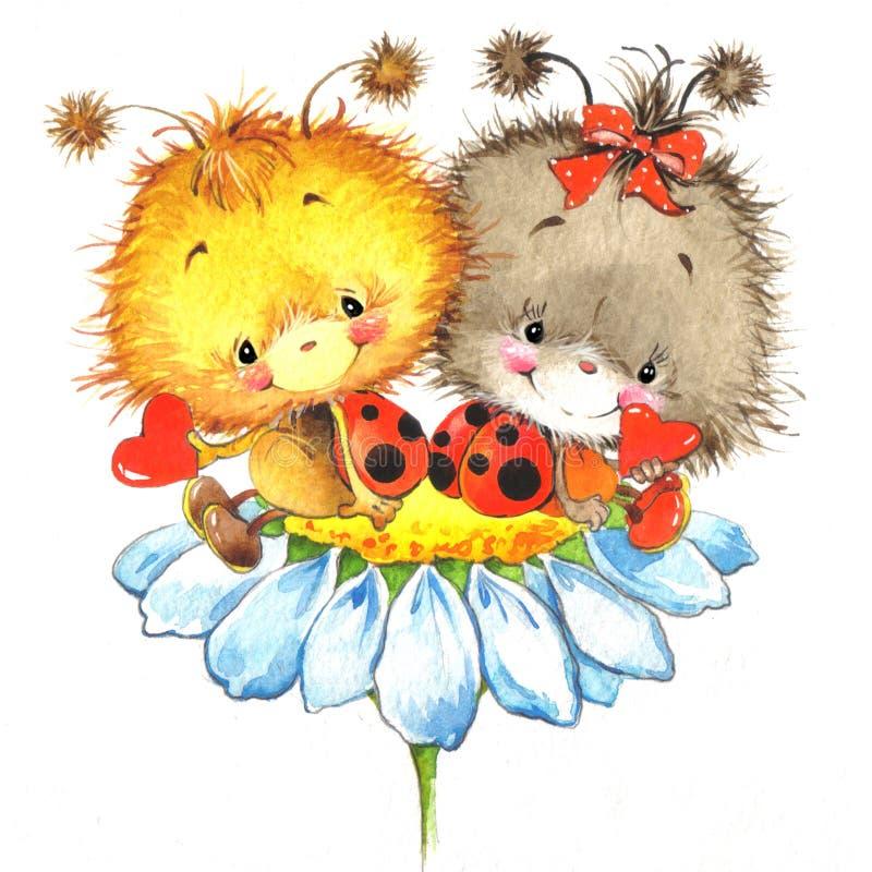 Dia de são valentim e joaninha bonito, coração vermelho ilustração royalty free