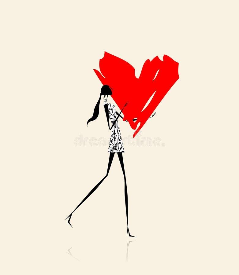 Dia de são valentim. Menina com coração vermelho grande ilustração royalty free