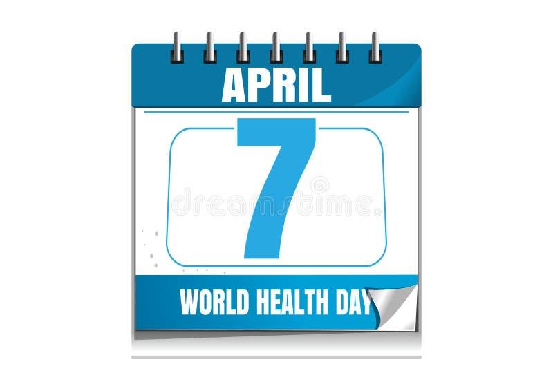 Dia de saúde de mundo Calendário de parede 7 de abril ilustração do vetor