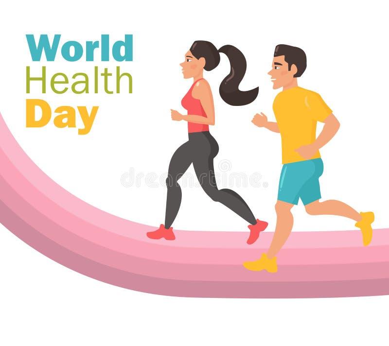 Dia de saúde de mundo Corrida do homem e da mulher ilustração royalty free
