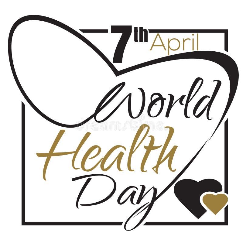 Dia de saúde de mundo 7 de abril Projeto tipográfico ilustração stock