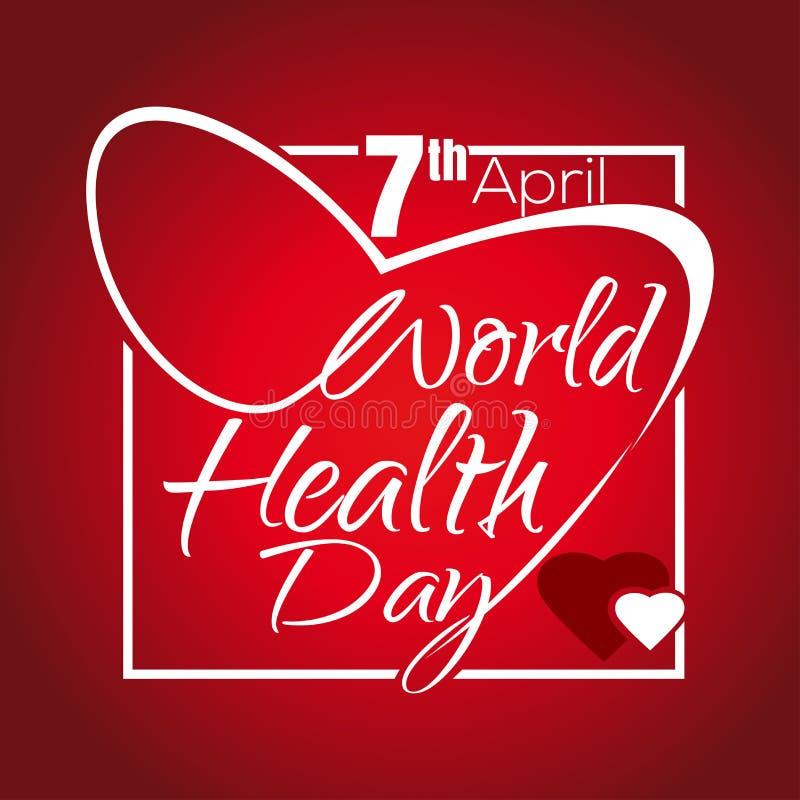 Dia de saúde de mundo 7 de abril Rotulação do dia da saúde ilustração royalty free