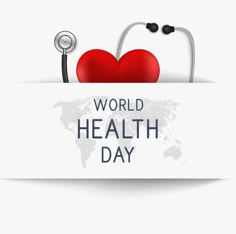Dia de saúde de mundo Bandeira do Web Ilustração do vetor ilustração royalty free