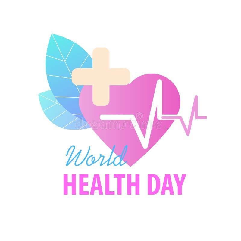 Dia de saúde de mundo com vetor do cartão do coração ilustração do vetor