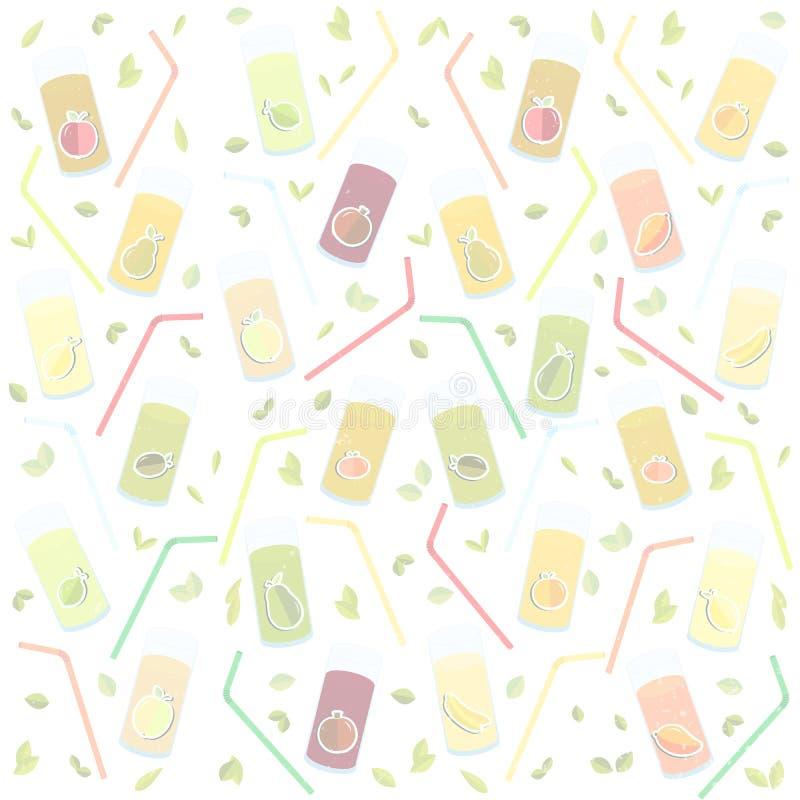 Dia de saúde de mundo dos gráficos de vetor em vidros textured do fundo para o suco, suco, palha, fruto, maçã, banana, pera, o ma ilustração royalty free