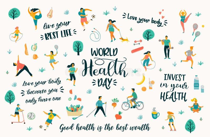 Dia de saúde de mundo Ilustração do vetor com os povos que conduzem um estilo de vida saudável ativo e citações ilustração royalty free