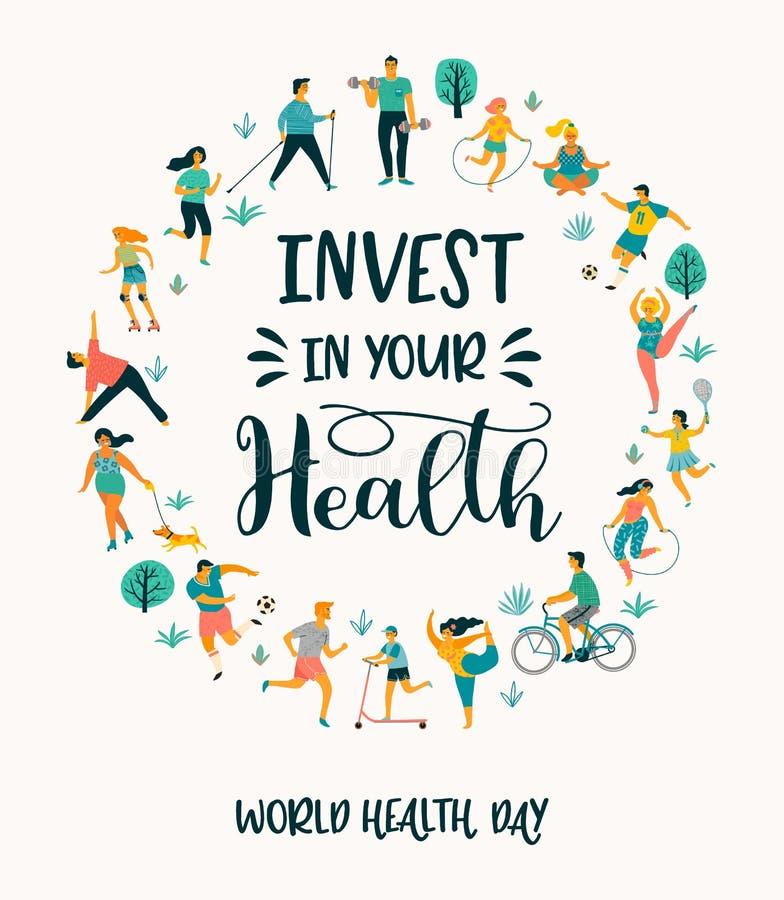 Dia de saúde de mundo Ilustração do vetor dos povos que conduzem um estilo de vida saudável ativo ilustração stock