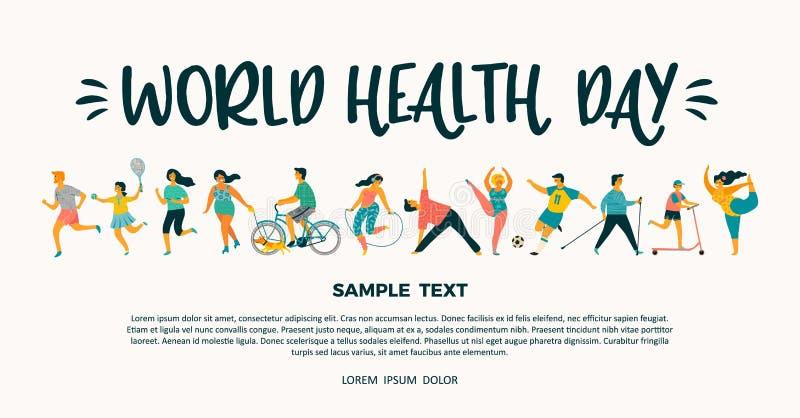 Dia de saúde de mundo Tempale do vetor com condução de um estilo de vida saudável ativo ilustração do vetor