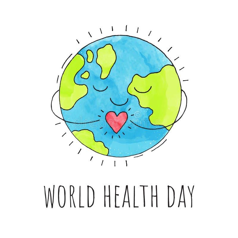 Dia de saúde de mundo Terra do planeta com um coração Ilustração desenhada mão Fundo do vetor ilustração stock
