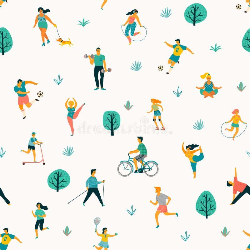 Dia de saúde de mundo Teste padrão sem emenda do vetor com os povos que conduzem um estilo de vida saudável ativo ilustração do vetor