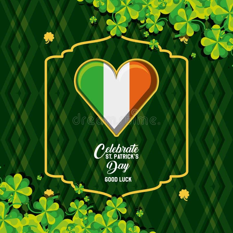 Dia de St Patrick com irlandês da bandeira no coração e nos trevos da forma ilustração do vetor