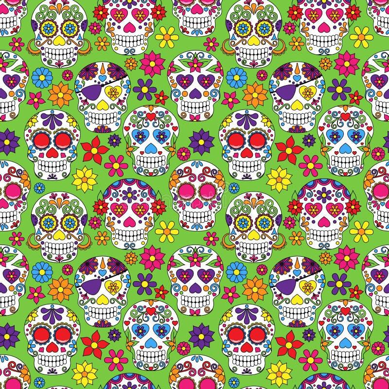 Dia de Sugar Skull Seamless Vetora Background inoperante ilustração stock