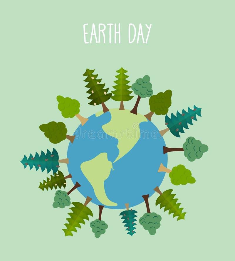 Dia de terra Terra com árvores Árvores e grama geométricas do vetor ilustração royalty free