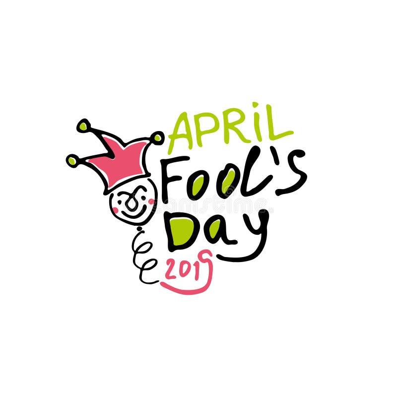 Dia de tolos de abril Logotipo tirado marcador dos gráficos do estilo dos desenhos animados com um bobo da corte em uma mola ilustração do vetor