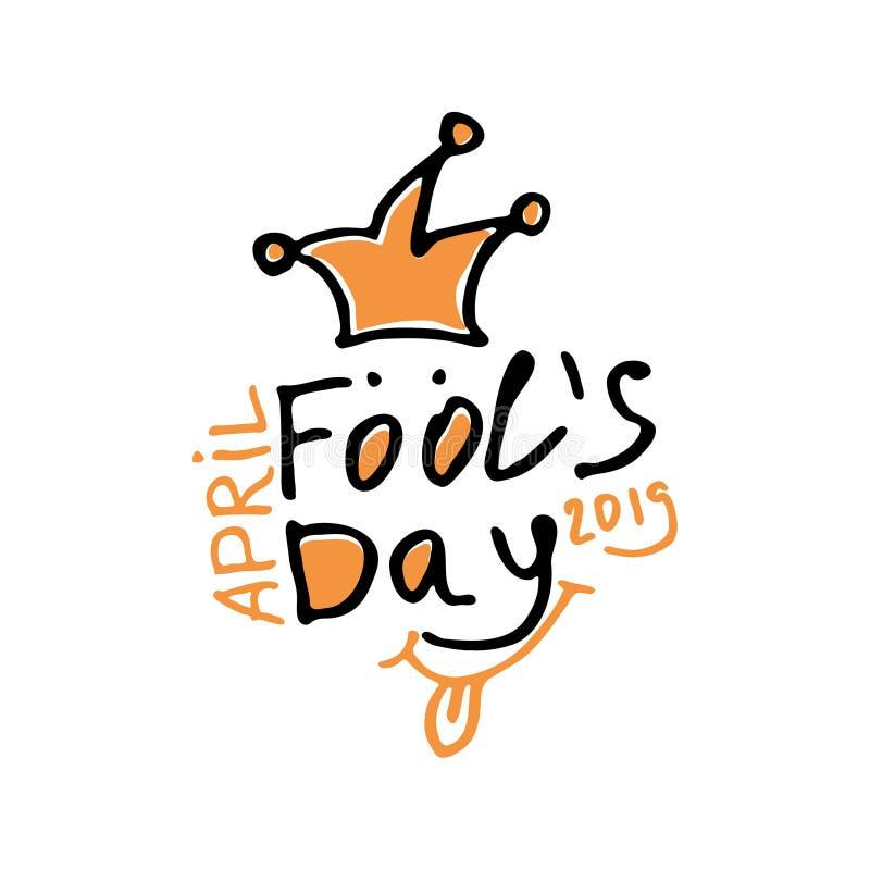Dia de tolos de abril Logotipo tirado marcador dos gráficos do estilo dos desenhos animados com um bobo da corte em uma mola ilustração stock