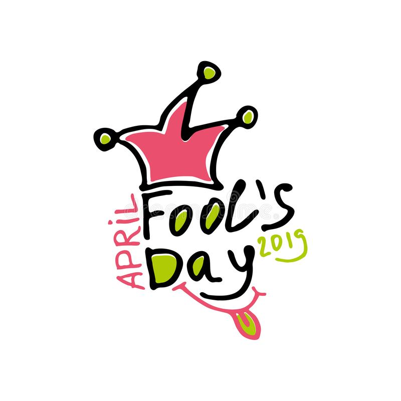 Dia de tolos de abril Logotipo tirado marcador dos gráficos do estilo dos desenhos animados com um bobo da corte em uma mola ilustração royalty free