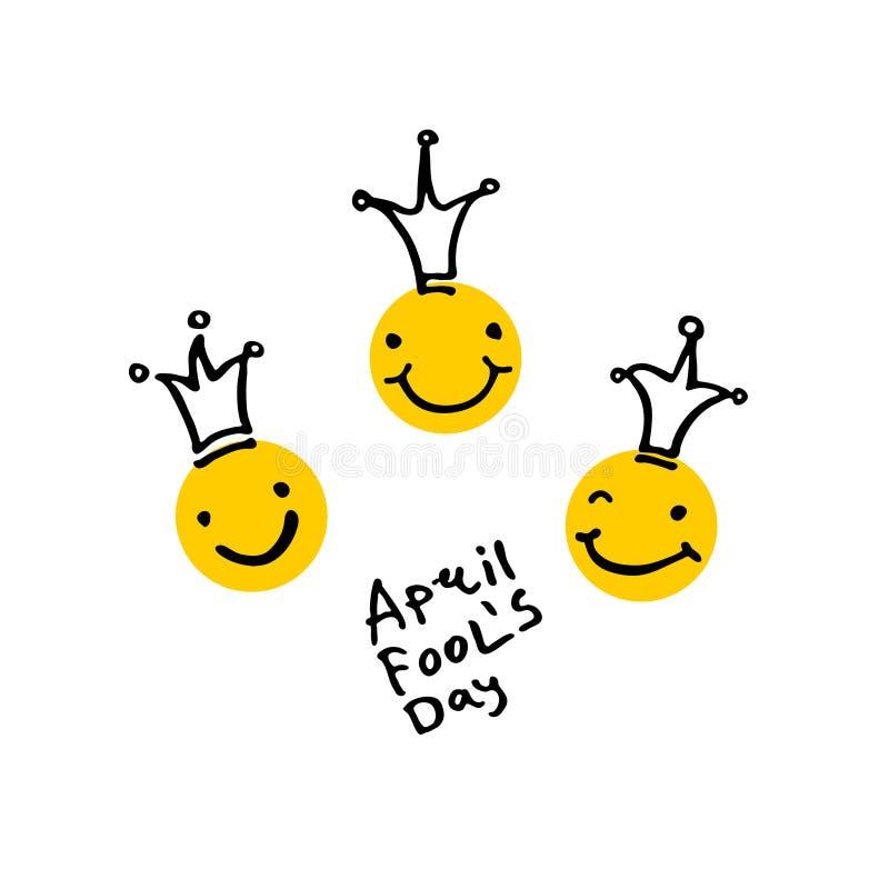 Dia de tolos de abril 2019 Três cabeças de riso nas coroas Estilo dos desenhos animados ilustração do vetor