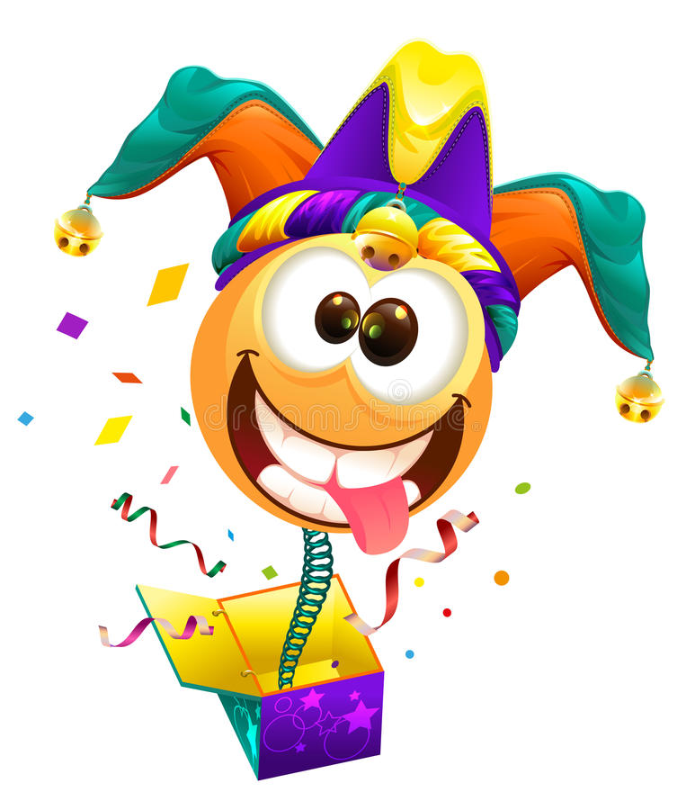 Dia de tolos de abril O sorriso do tampão dos tolos na mola voa fora da caixa Gracejo de April Fools ilustração do vetor