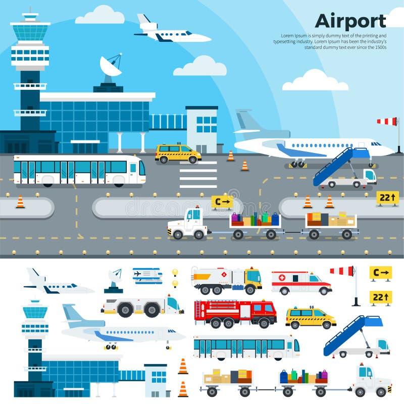Dia de trabalho no aeroporto ilustração stock