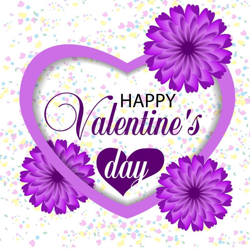Dia de Valentim branco bonito do fundo com coração violeta e flores e confetes roxos de papel Vetor ilustração do vetor