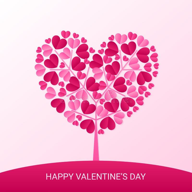 Dia de Valentim e corte felizes do papel da árvore do coração ilustração stock