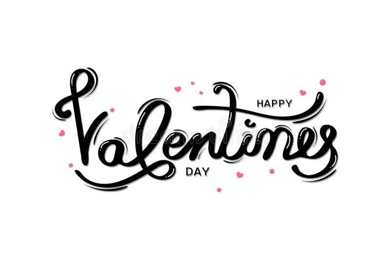 Dia de Valentim feliz, cartão da tipografia com caligrafia escrita à mão, decoração, celebração e feriado isolados no branco ilustração stock