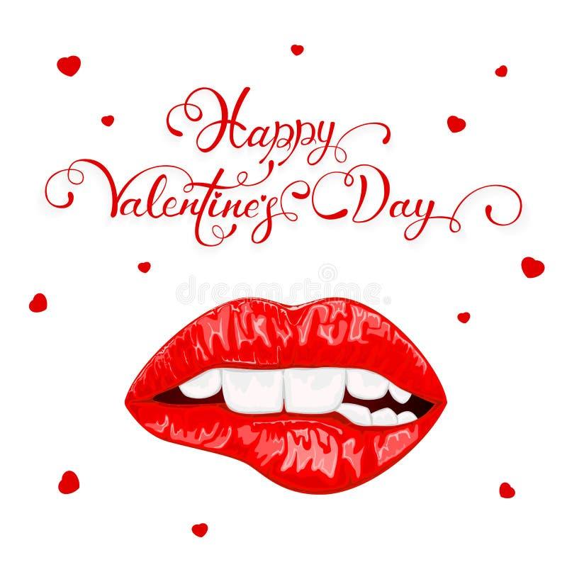 Dia de Valentim feliz com os bordos fêmeas vermelhos ilustração do vetor