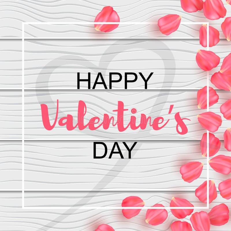 Dia de Valentim feliz com pétalas cor-de-rosa ilustração royalty free