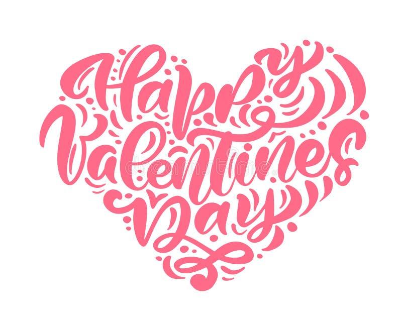 Dia de Valentim feliz da frase da caligrafia do vetor Valentine Hand Drawn que rotula o coração Cartão do projeto da garatuja do  ilustração do vetor