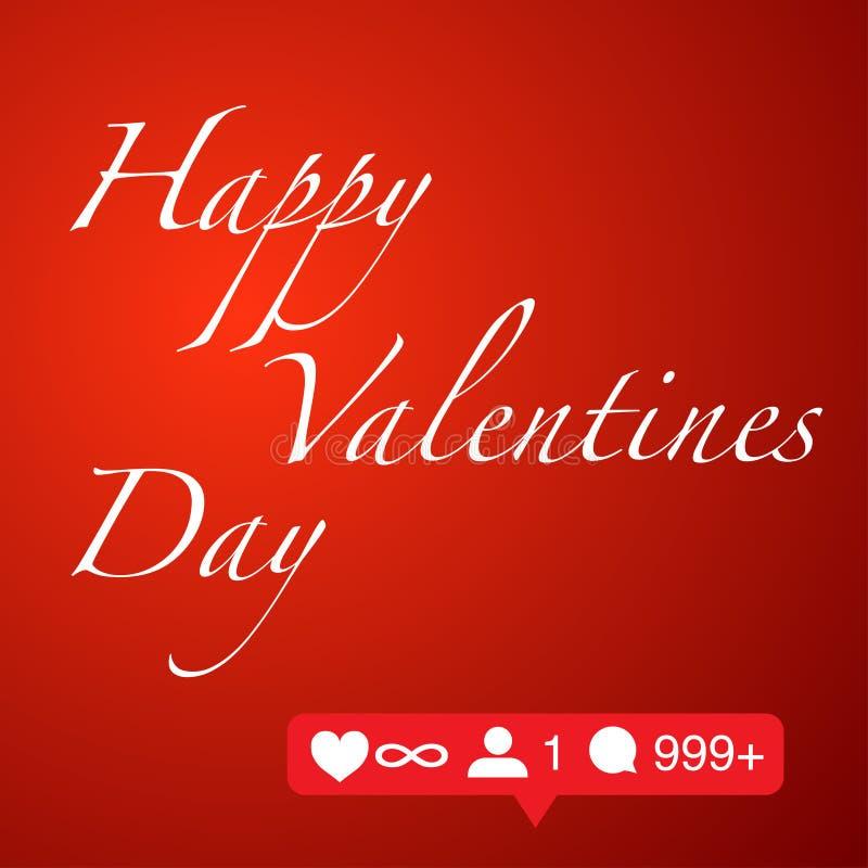 Dia de Valentim feliz no conceito social da rede do fundo vermelho ilustração stock