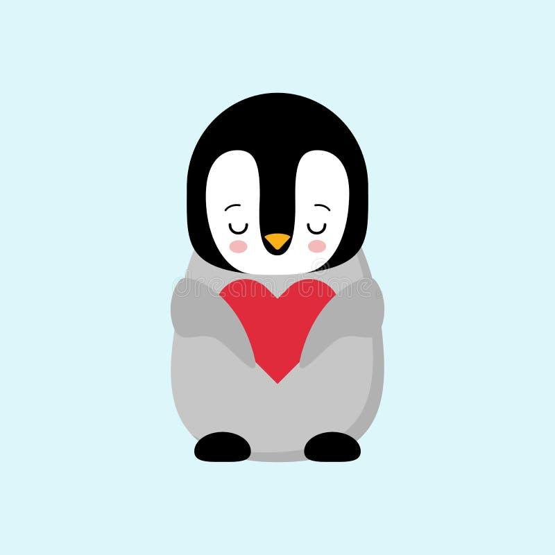 Dia de Valentim feliz no pinguim do amor Pinguim que guarda um coração Pinguim dos brinquedos do luxuoso com coração Presente Kaw ilustração do vetor