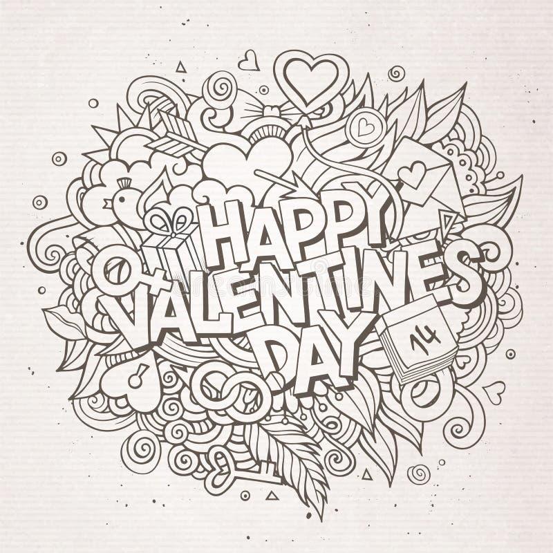 Dia de Valentim feliz tirado mão da garatuja dos desenhos animados ilustração royalty free