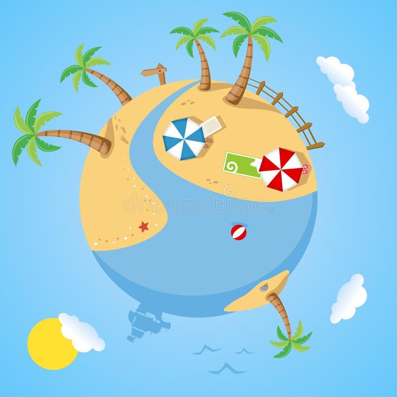 Dia de verão na terra do planeta ilustração royalty free