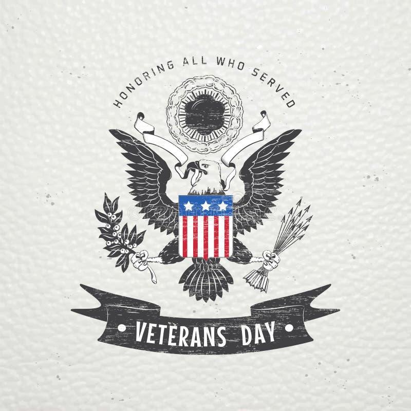 Dia de veteranos feliz Elementos detalhados Grunge retro velho do vintage Efeito riscado, danificado, sujo Etiquetas tipográficas ilustração stock