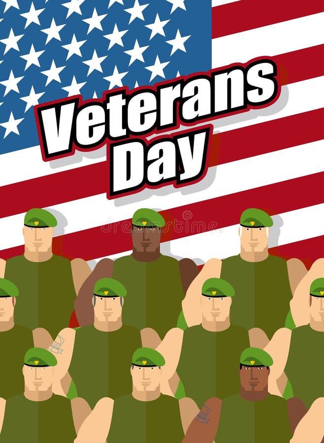 Dia de veteranos Os soldados americanos estão no fundo do Stat unido ilustração do vetor