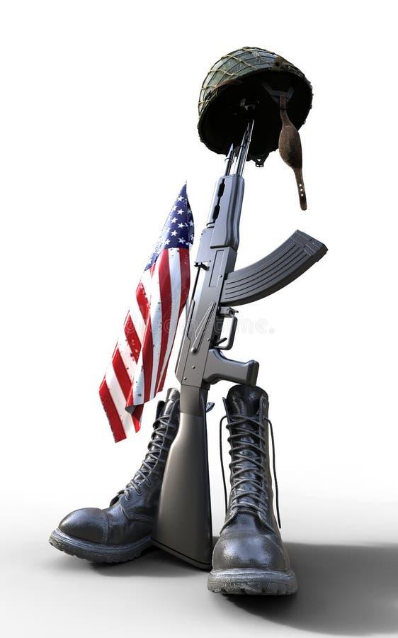 Dia de veteranos, tributo caído do soldado ilustração do vetor