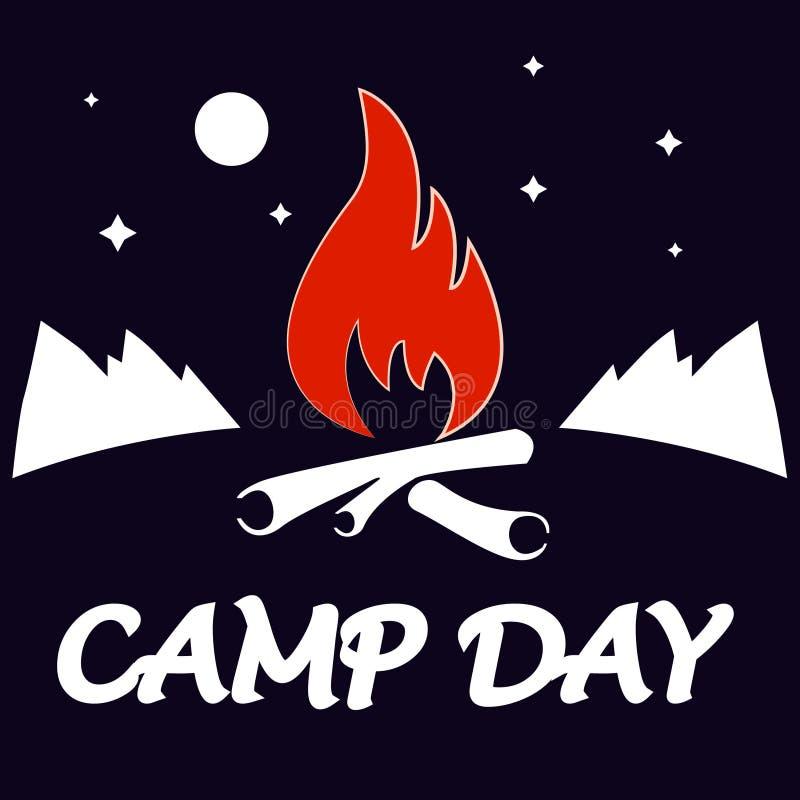 Dia do acampamento, o 5 de junho Dia de acampamento do verão Ilustração da paisagem no estilo liso com fogueira e montanhas, lua  fotos de stock