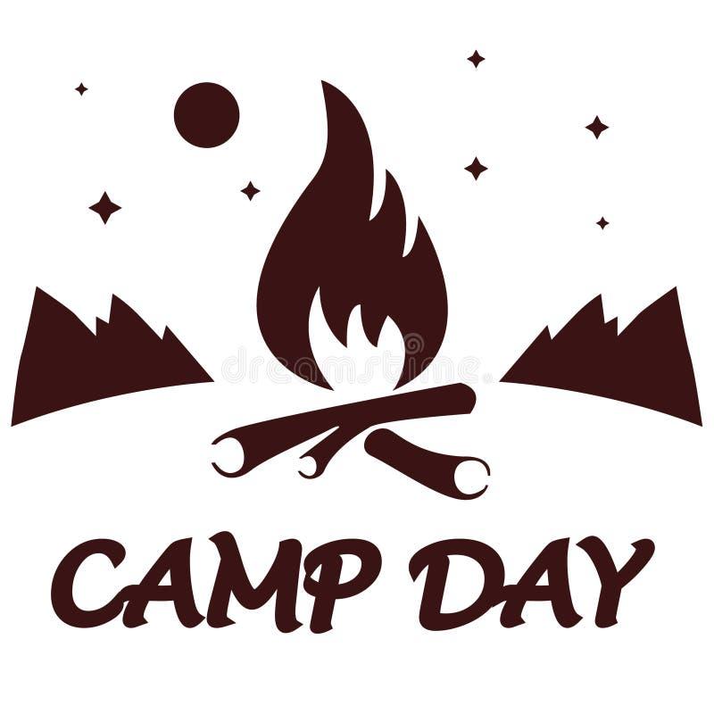Dia do acampamento, o 5 de junho Dia de acampamento do verão Ilustração da paisagem no estilo liso com fogueira e montanhas, lua  fotografia de stock