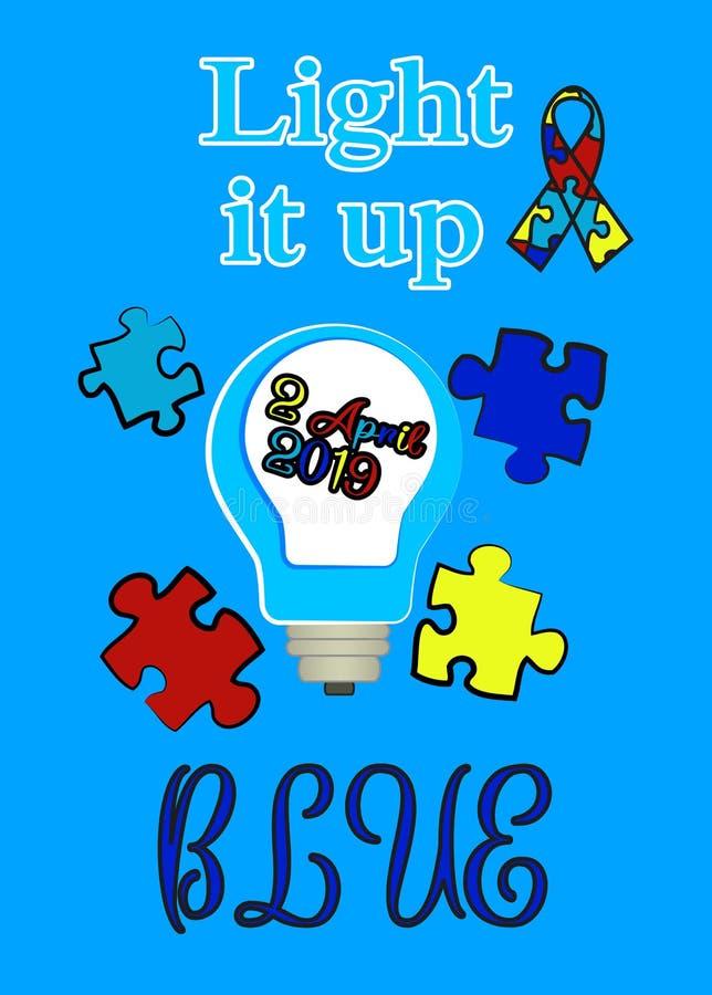 Dia do autismo Apoio para crian?as com autismo T-shirt ilustração royalty free