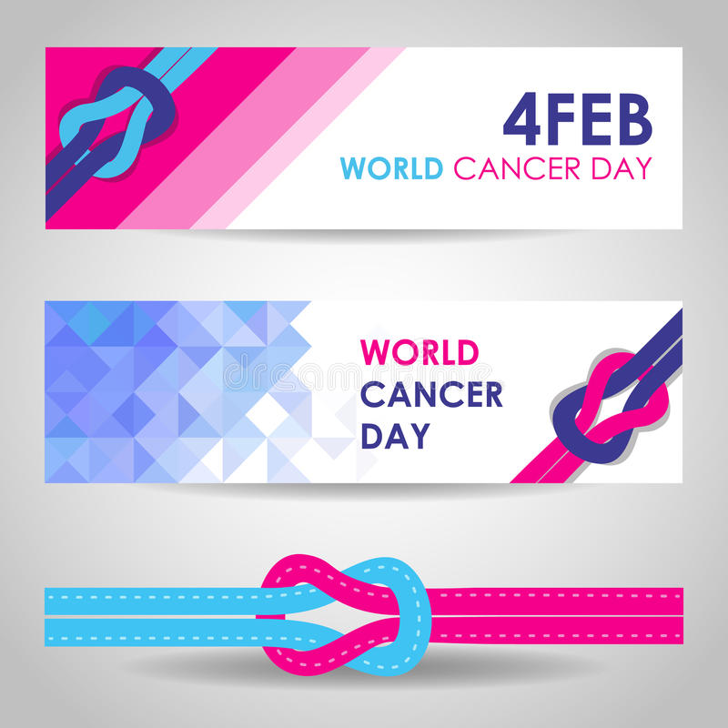 Dia do câncer do mundo o 4 de fevereiro com projeto do vetor da bandeira do sinal das faixas da unidade ilustração stock