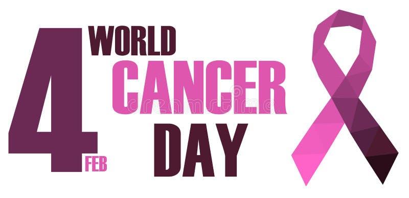 Dia do câncer do mundo, baixa ilustração poli do vetor do logotipo ilustração do vetor