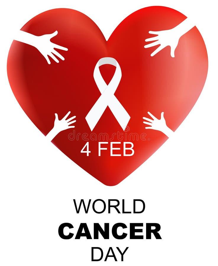 Dia do câncer do mundo, coração 3d com mão e ilustração do vetor da fita ilustração stock