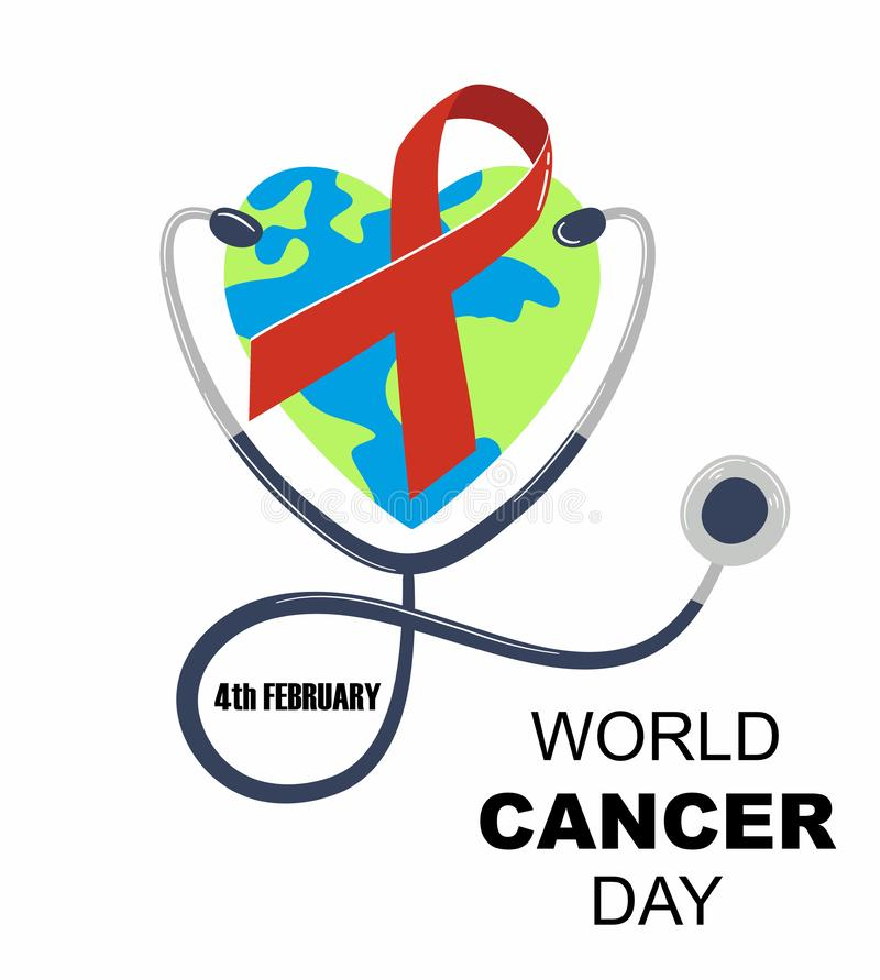 Dia do câncer do mundo Estetoscópio com coração sob a forma da ilustração do vetor da terra ilustração do vetor