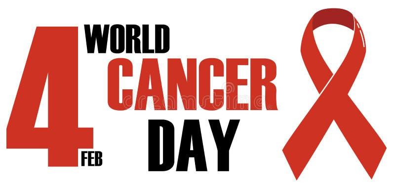 Dia do câncer do mundo, projeto de conceito vermelho, preto do logotipo ilustração royalty free
