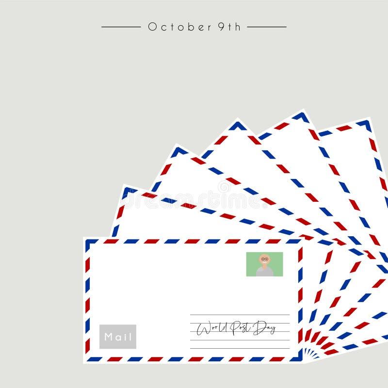 Dia do cargo do mundo com correio ilustração stock