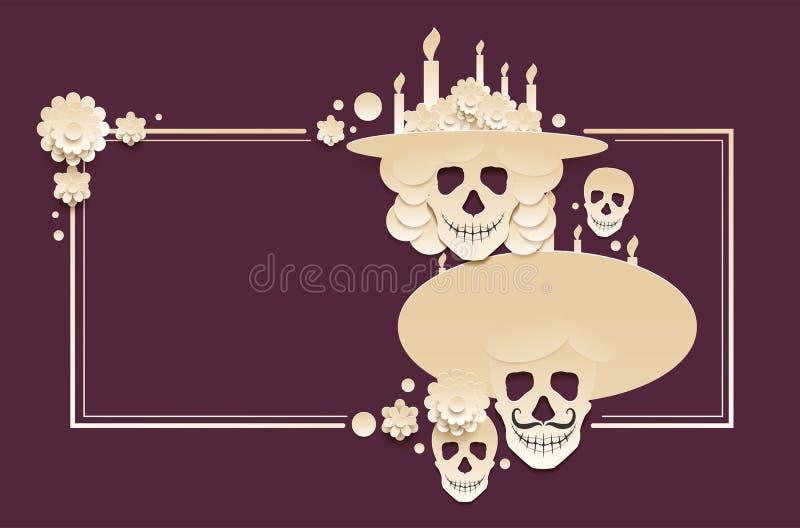 Dia do cartão inoperante do molde Feriado mexicano Dia de Muertos Grupo de crânio e de vela ardente ilustração stock