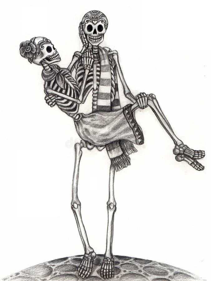 Dia do casamento da arte do crânio dos mortos ilustração do vetor