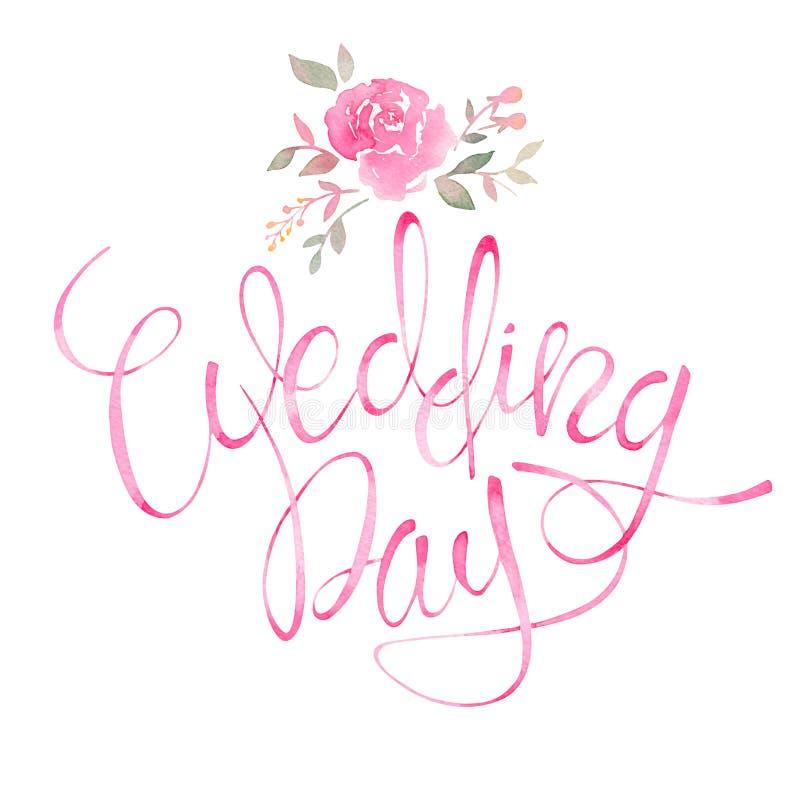 Dia do casamento Texto romântico do convite com ele floral da aquarela ilustração stock