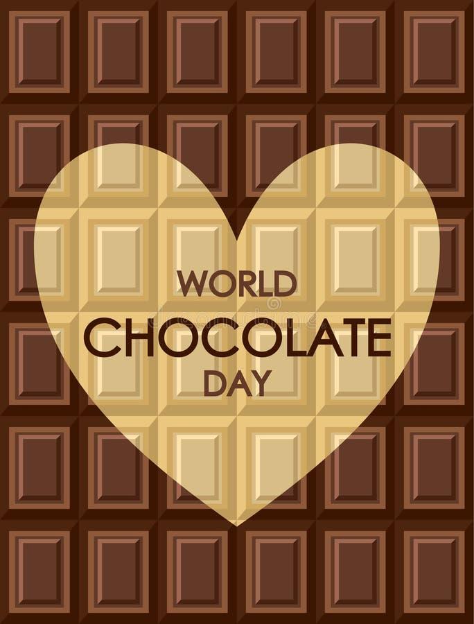 Dia do chocolate do mundo Telhas do leite escuro brancas e chocolat preto ilustração royalty free